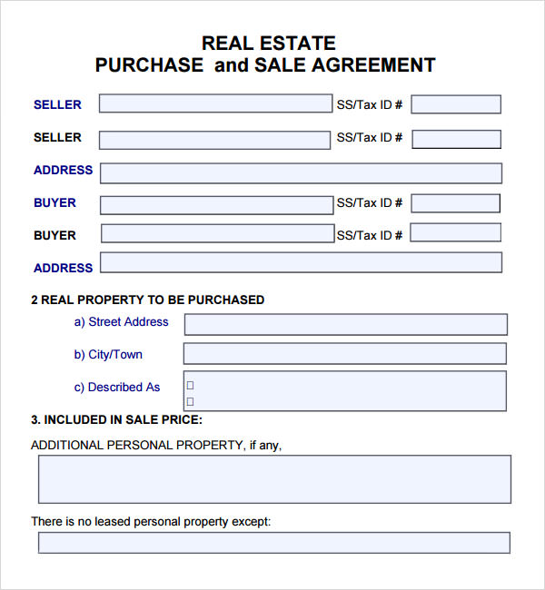 Business Sales Agreement Template - Real estate purchase and sale agreement template