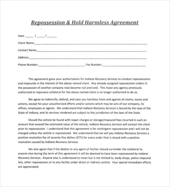 repossession-hold-harmless-agreement