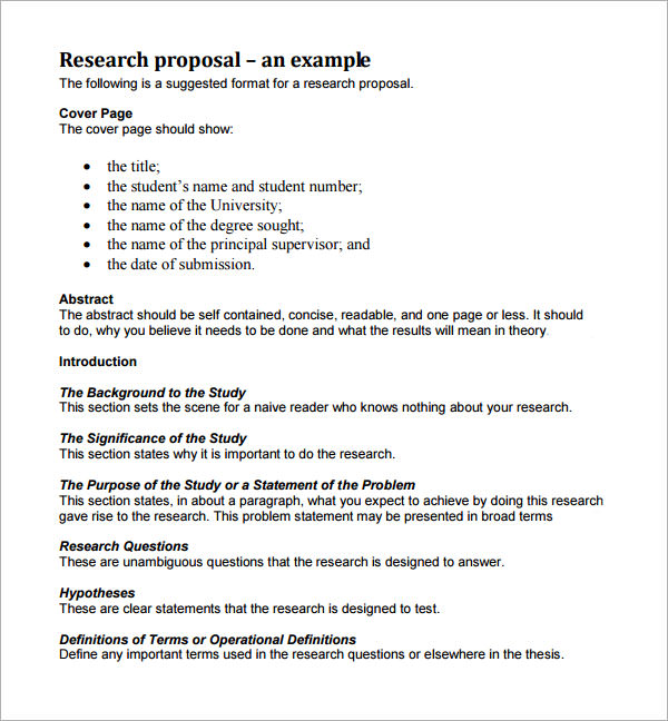 Give a sample of a research proposal format