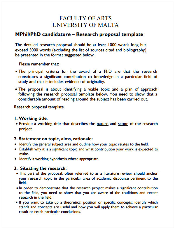 Sample Research Proposal Template - 5+ Free Documents Download In