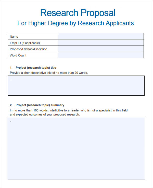 Sample Research Proposal Template   Free Documents Download In