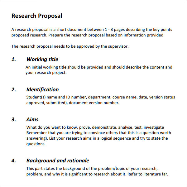 Guidelines for research proposal