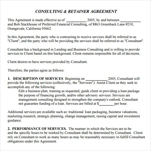 Consulting Retainer Agreement  Client Consultant Agreement