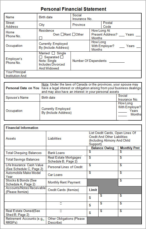 15 Sample Personal Financial Statement Templates Sample