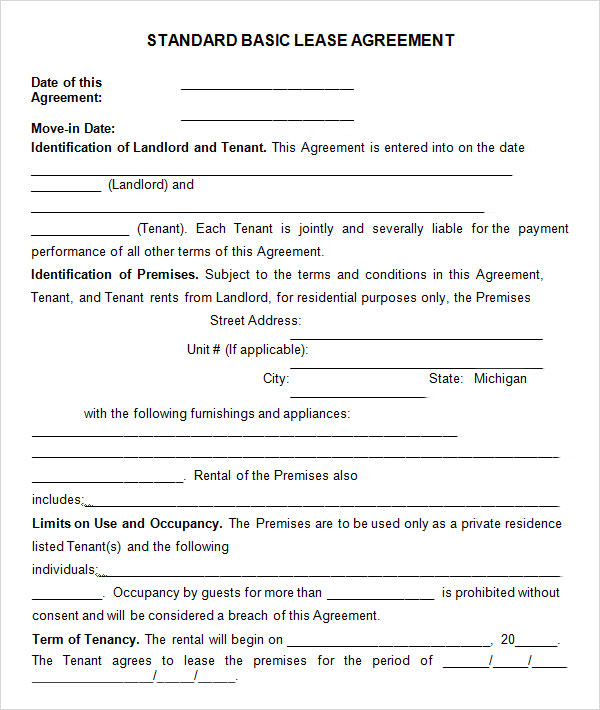 Basic Agreement Rental Application Template   Rental