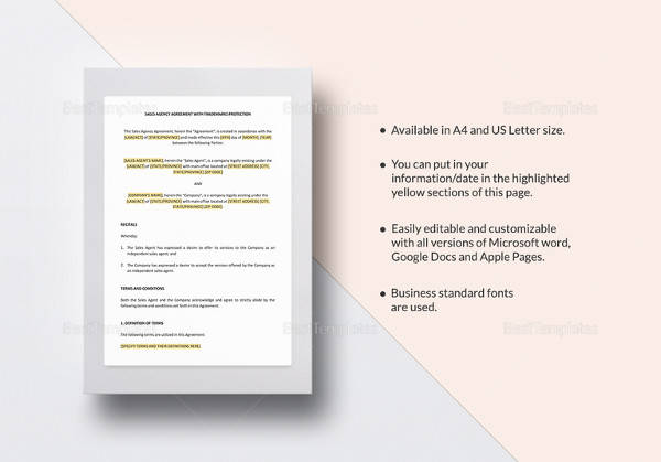 sales agency agreement template in word