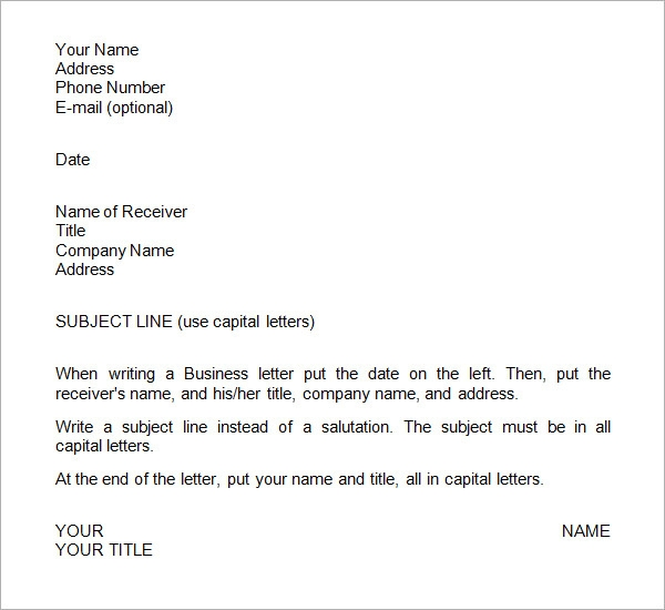 Sample business letter template sample business letter format spiritdancerdesigns Gallery
