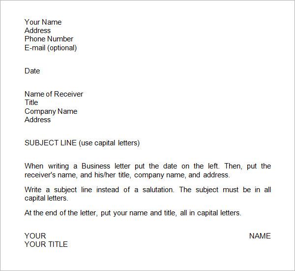 Sample Business Letter Format Templates