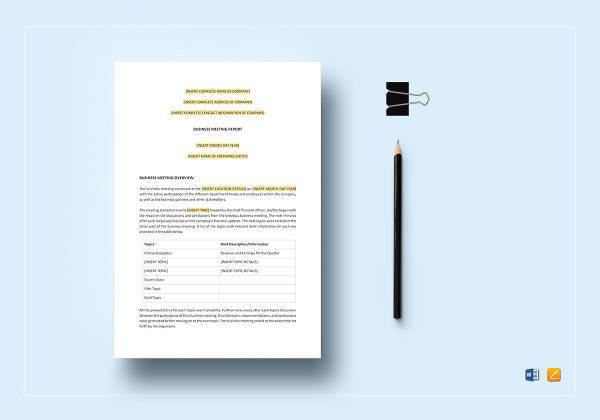 sample business meeting report template
