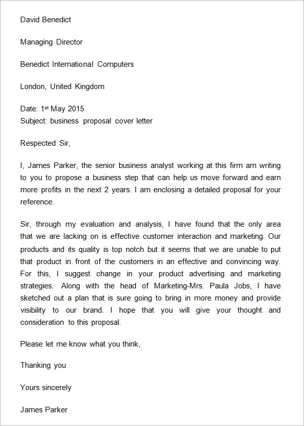32 Sample Business Proposal Letters – Cover Letter for Business Proposal Sample