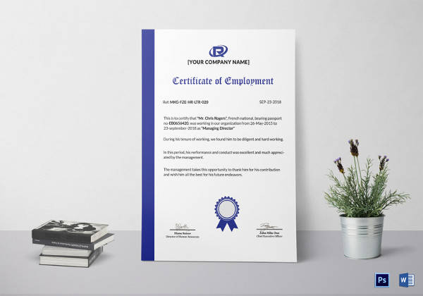sample employment certificate template
