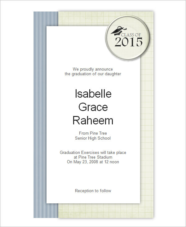 8 Beautiful Graduation Invitation Templates Sample Templates