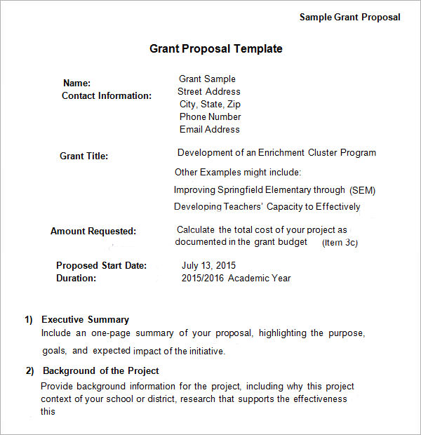 13 sample grant proposal templates to download for free for Writing a proposal for funding template