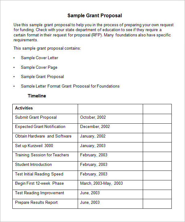 Grant Proposal Template 9 Download Free Documents in PDF Word RTF – Proposal Sample Template