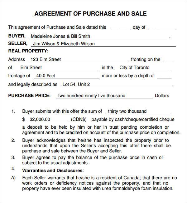 purchase and sale agreement 7 free pdf download sample templates