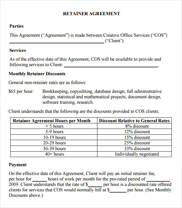 Retainer Agreement   Download Free Documents In Pdf