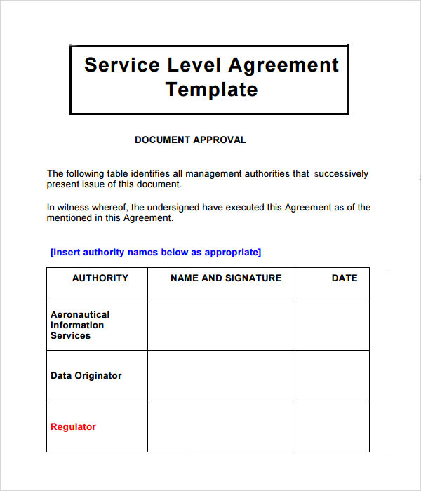 This example service level agreement (SLA) shows: