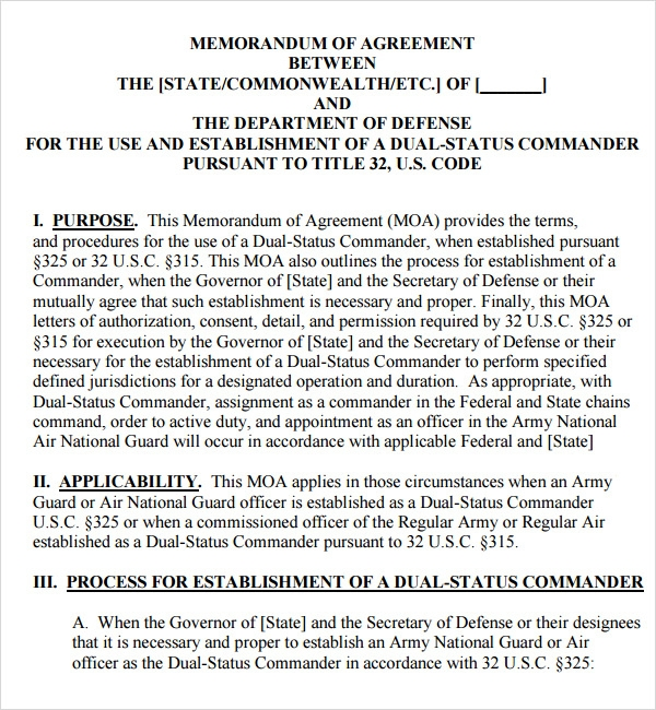 sample army memorandum of agreement
