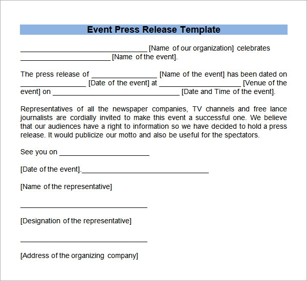 Sample Event Press Release