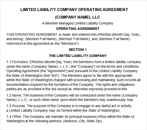 sample llc partnership agreement template