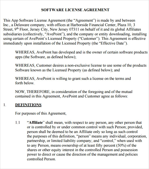 sample software license agreement template