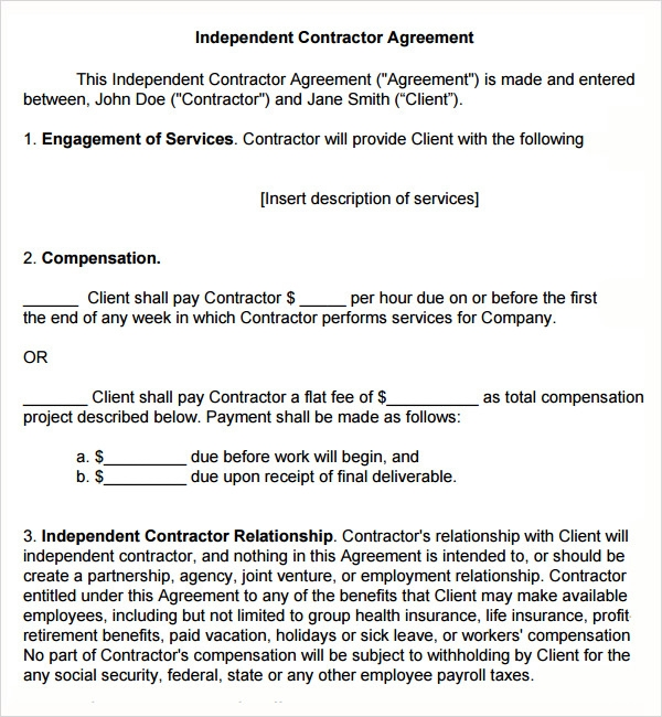 Sample Subcontractor Agreement   Free Documents Downlaod In Pdf Doc