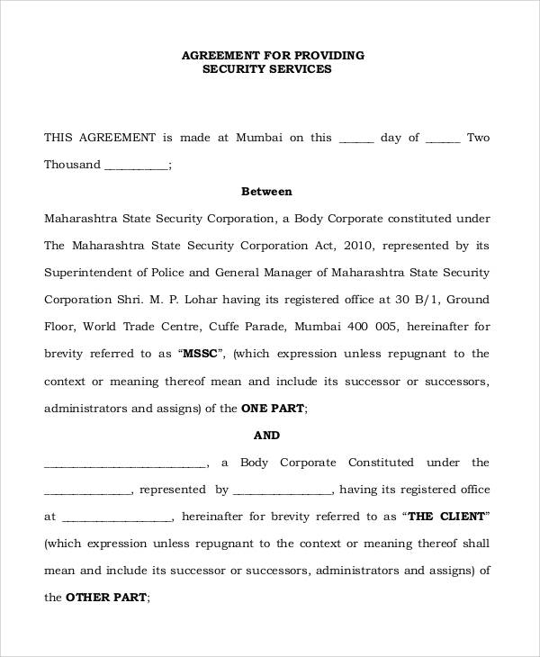 security guard contract agreement