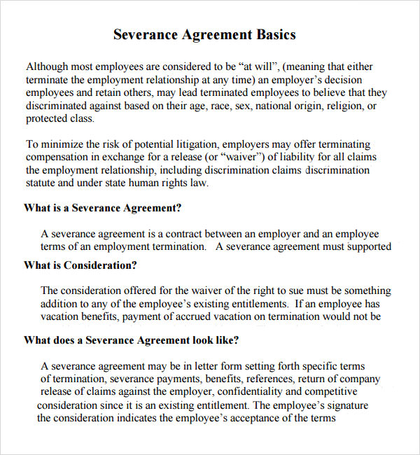 Sample Severance Agreement  Sample Ideas