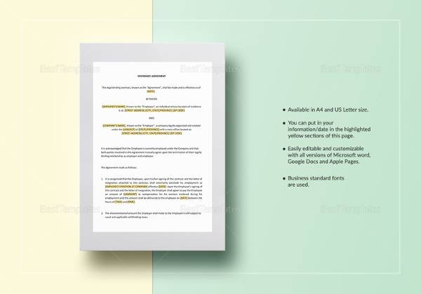 Sample severance agreement 7 documents in pdf word severance agreement template in word platinumwayz