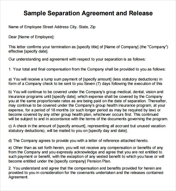 Severance General Release Agreement Template - Lump sum contract template