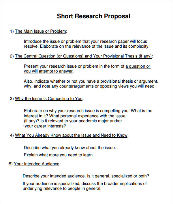 Sample Research Proposal Template 6 Free Documents Download in – Sample Proposal