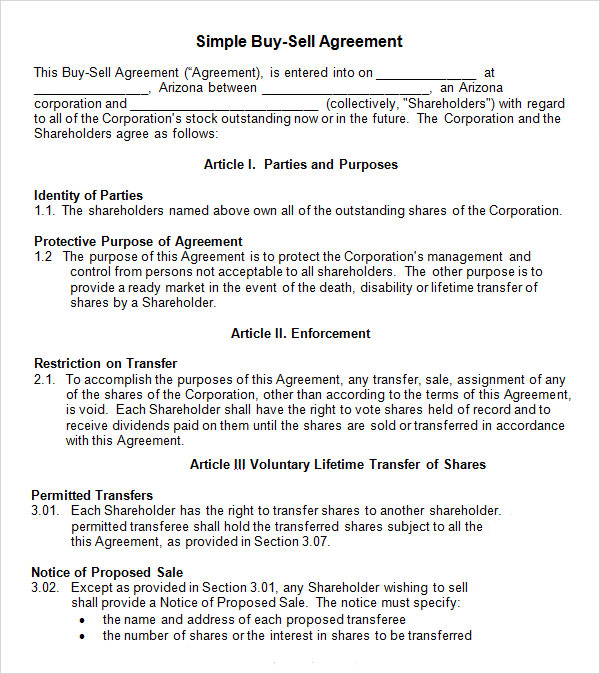 17 sample buy sell agreement templates sample templates for Selling a business contract template free