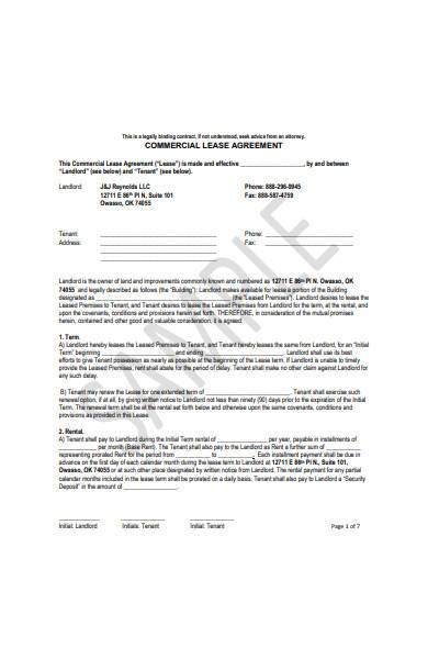 simple commercial lease agreement template1