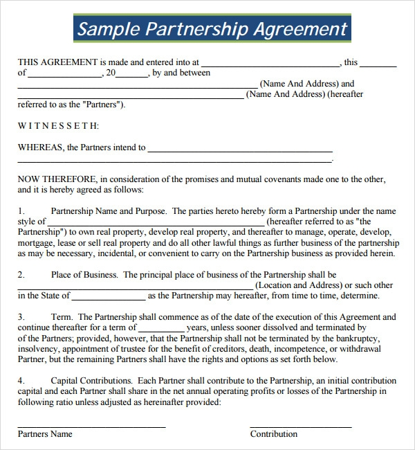 Free Agreement Form | 16 Partnership Agreement Templates Sample Templates