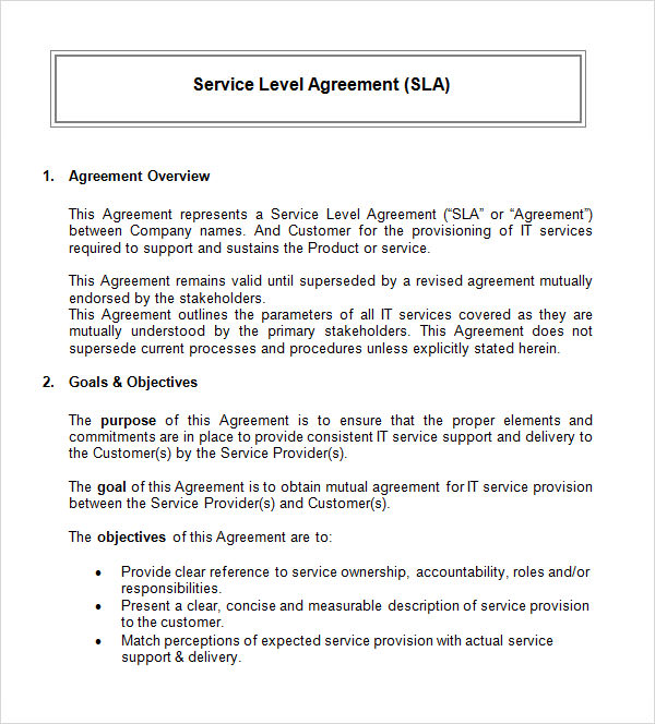 service provider agreement template - service level agreement 9 download free documents in