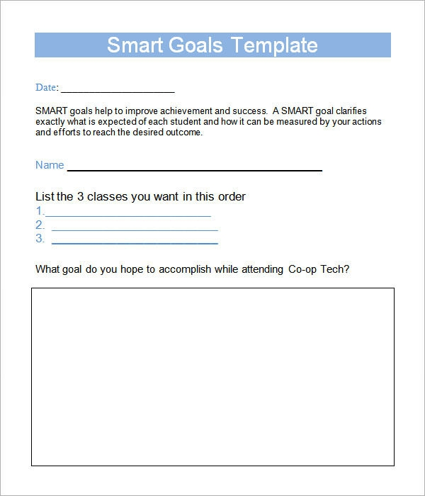 Smart Goals Acronym template