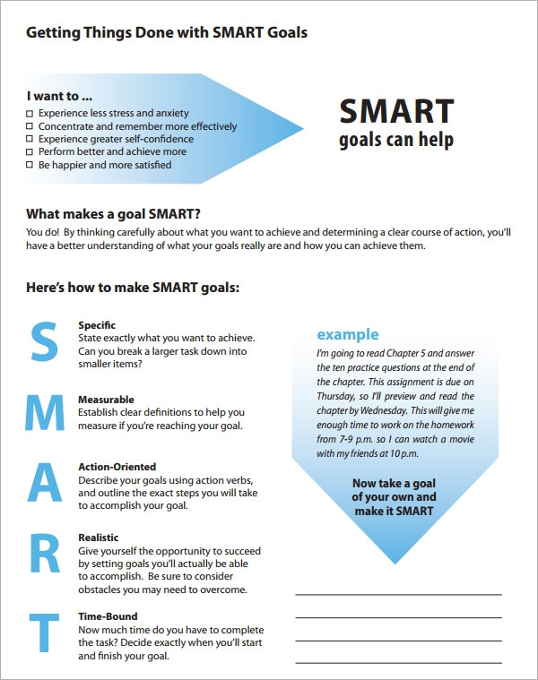 Smart Goals Template   15  Download Free Documents in PDF Word Excel B25M4yqW