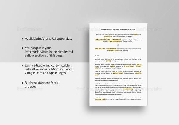 Sample license agreement template 11 free documents in pdf doc source code license agreement template pronofoot35fo Gallery