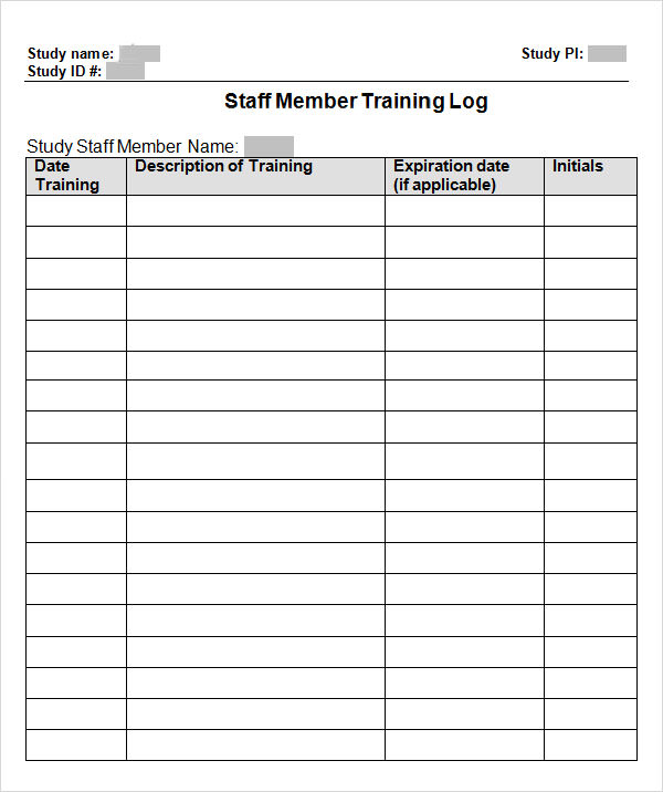 9 free training log templates pdf word sample templates for Training record template in excel
