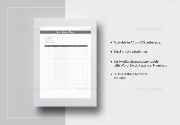 16 sample log sheet templates sample templates staff sign in sheet template flashek Image collections