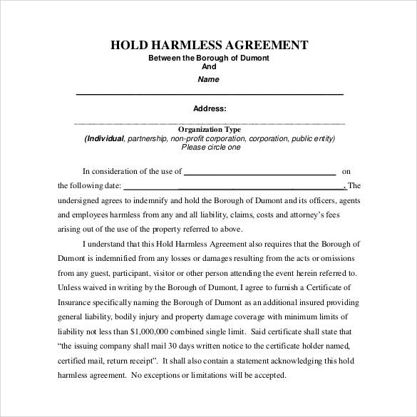 30 Sample Hold Harmless Agreement Templates To Download