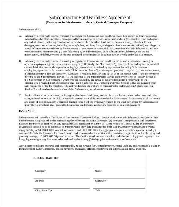 30 sample hold harmless agreement templates to download for Subcontractors agreement template