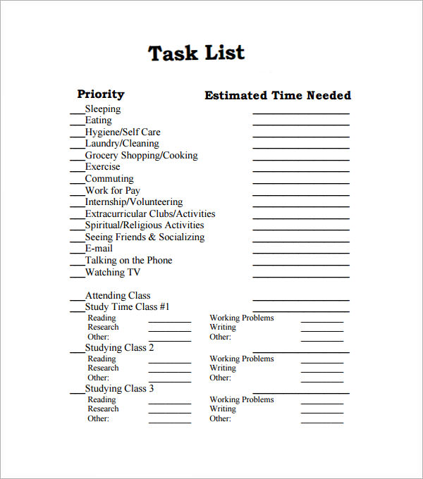 Sample Task List Template - 8+ Free Documents Download In Pdf, Word
