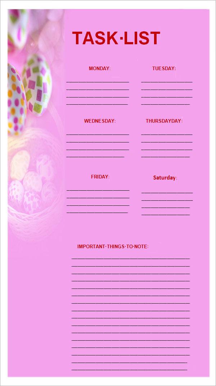 sample task list template