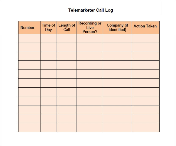 Sample Call Log Template - 11+ Free Documents in PDF, Word