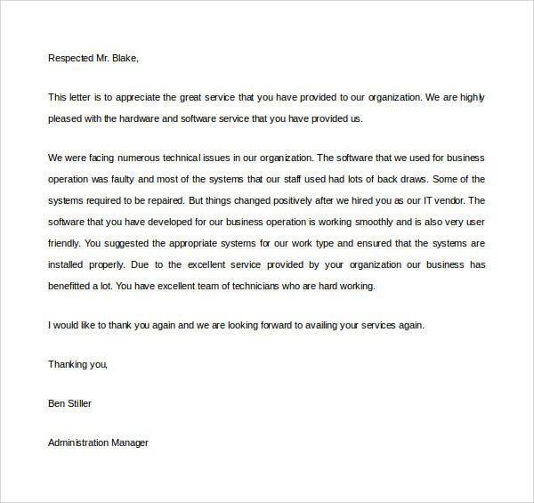 thank you appreciation letter for good service