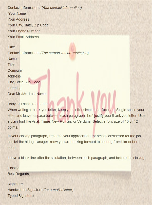 Formal Thank You Letters