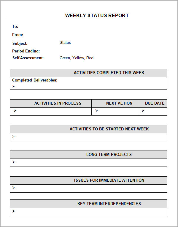 Sample Weekly Status Report Templates to Download