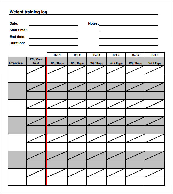 9 free training log templates pdf word sample templates for Weight training log template