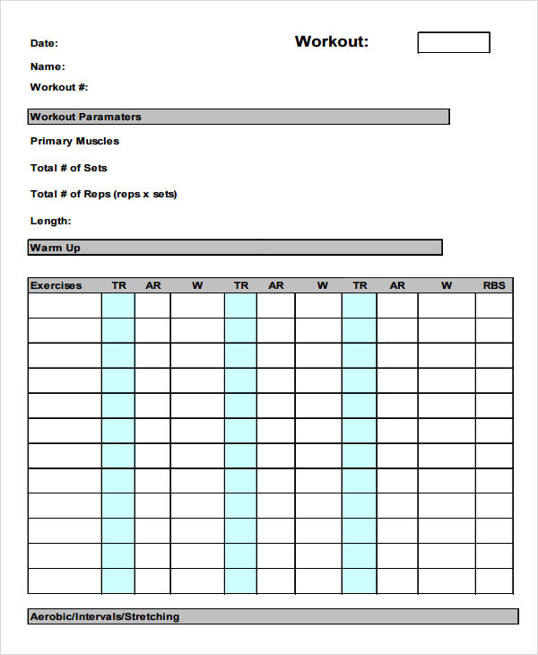 Training Log Template 8 Download Free Documents in PDF Doc – Workout Worksheet